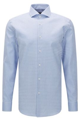 Camicia slim fit a quadri in cotone: 'Jason', Celeste