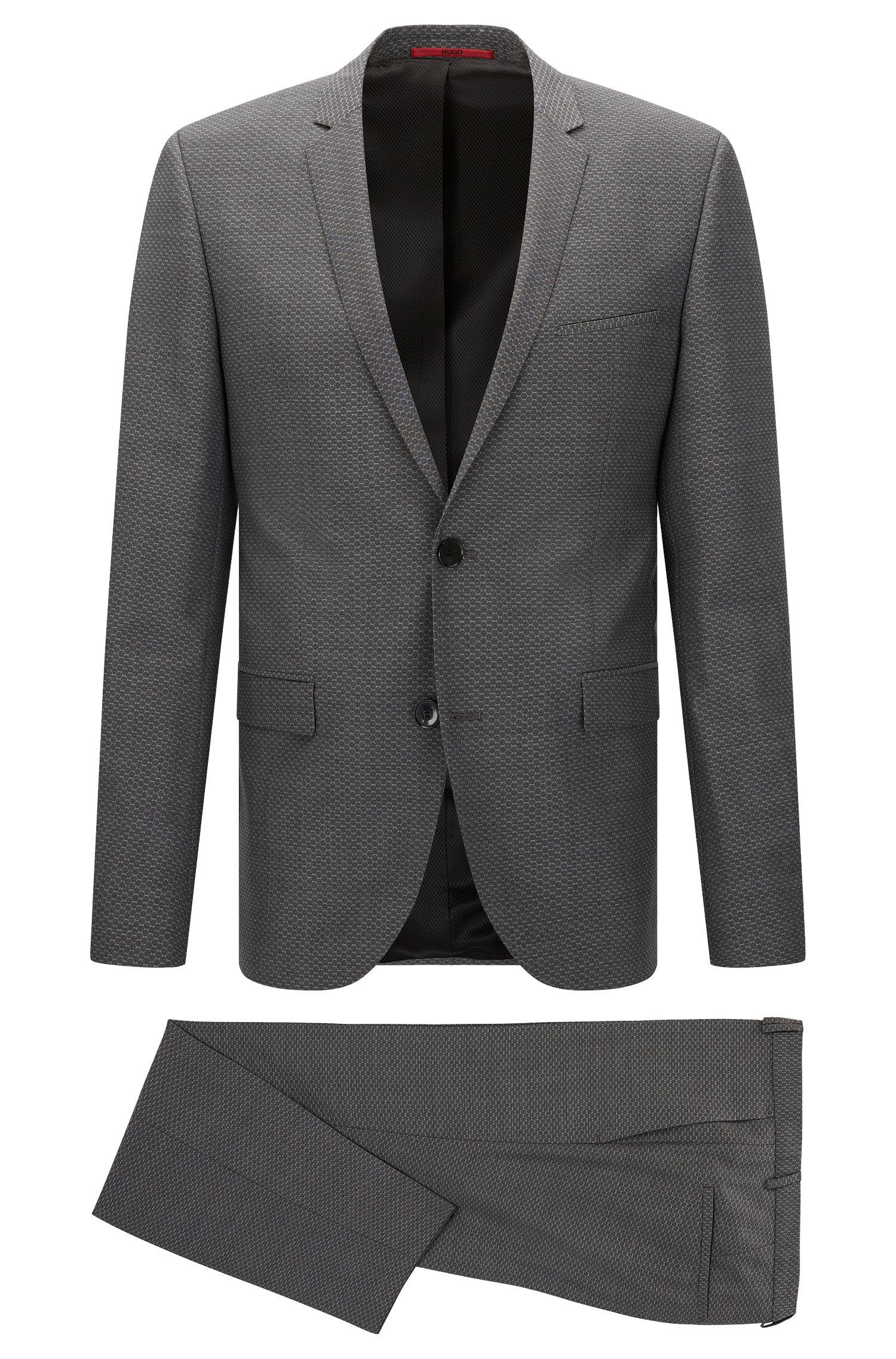 Gemusterter Extra Slim-Fit Anzug aus Schurwolle: 'Adris4/Heilon'