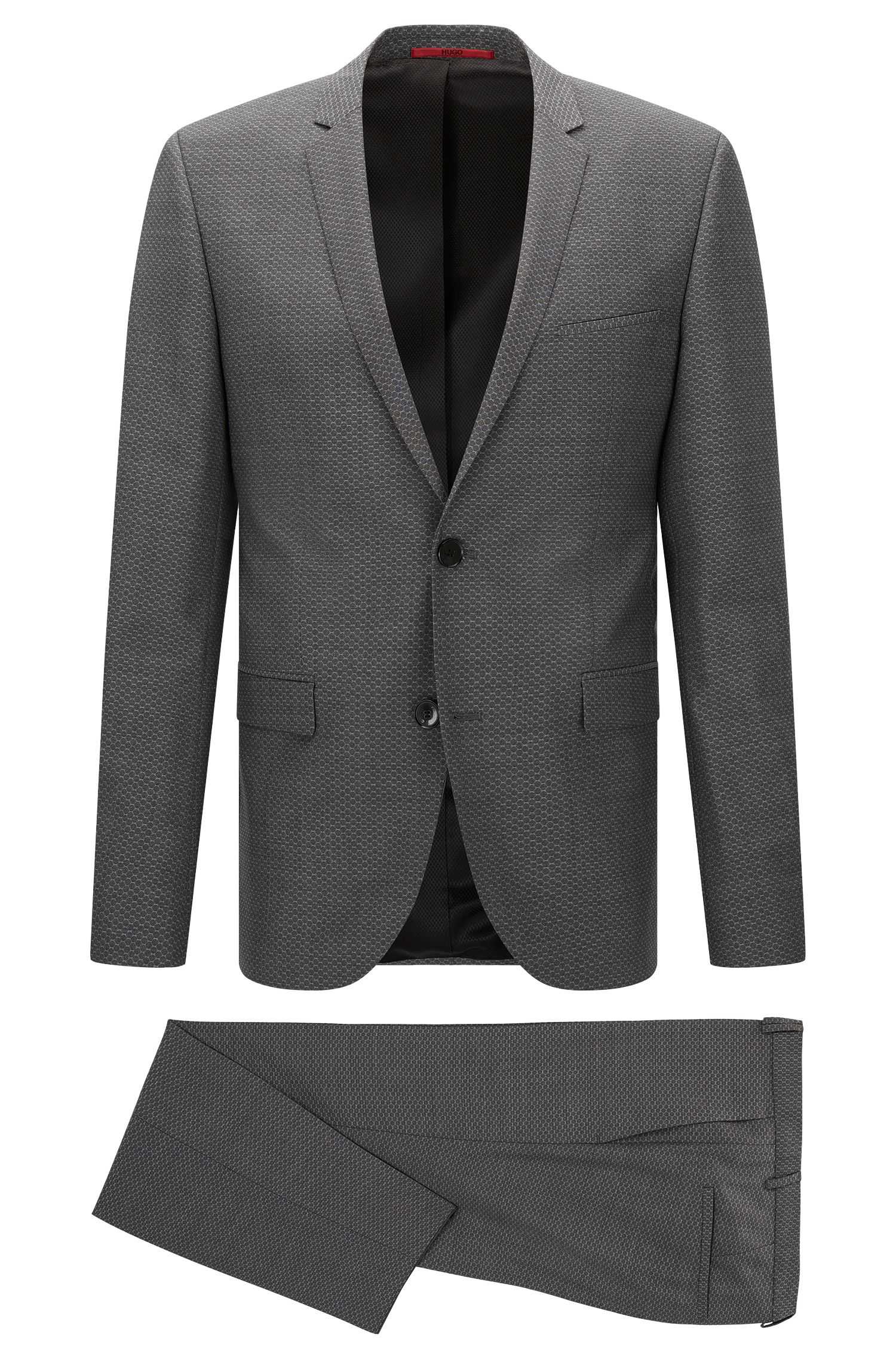 Patterned extra slim-fit suit in new wool: 'Adris4/Heilon'