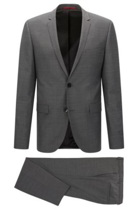 Patterned extra slim-fit suit in new wool: 'Adris4/Heilon', Open Grey