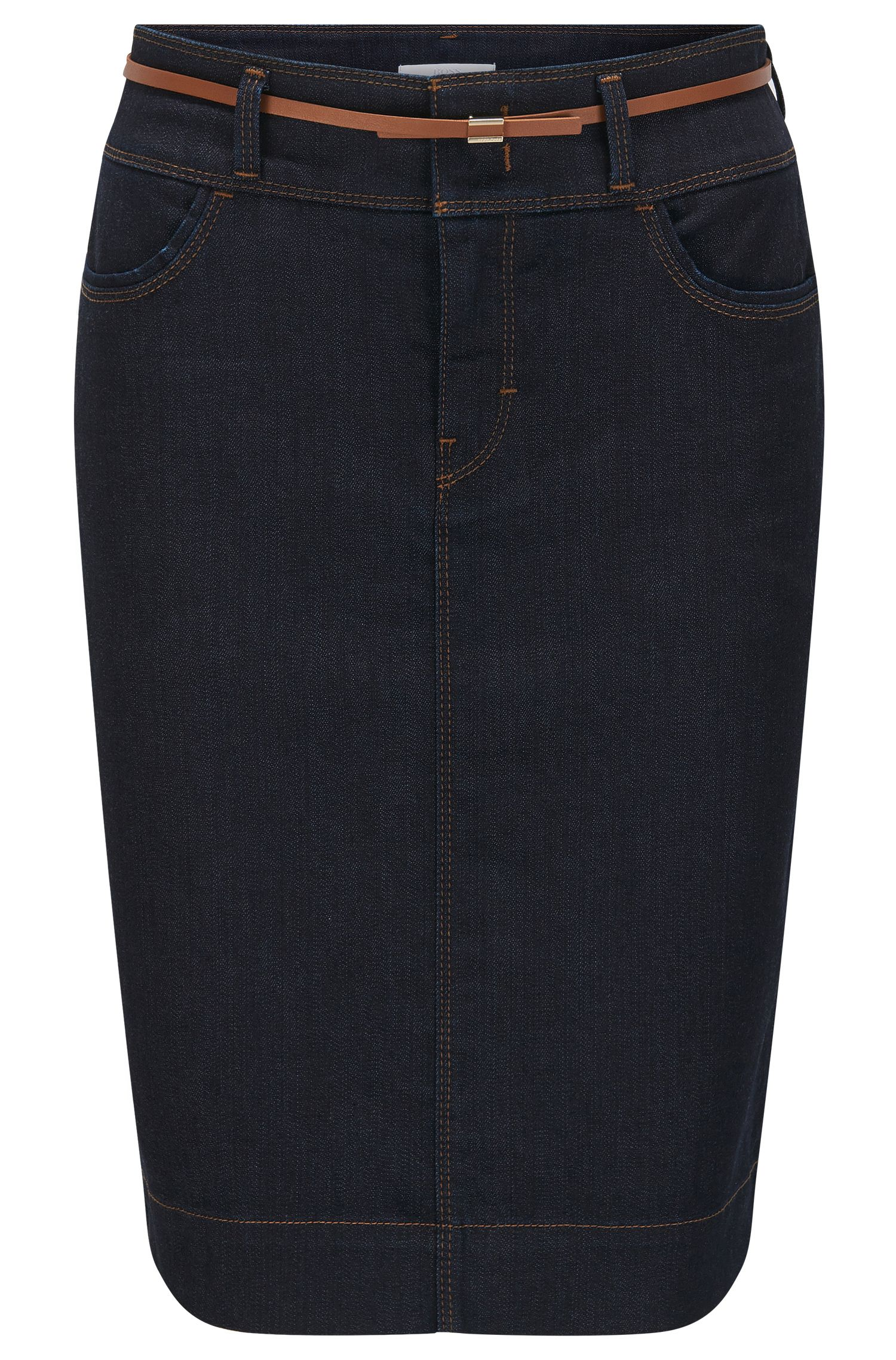 Pencil skirt in comfort-stretch denim