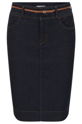 Pencil skirt in comfort-stretch denim, Dark Blue