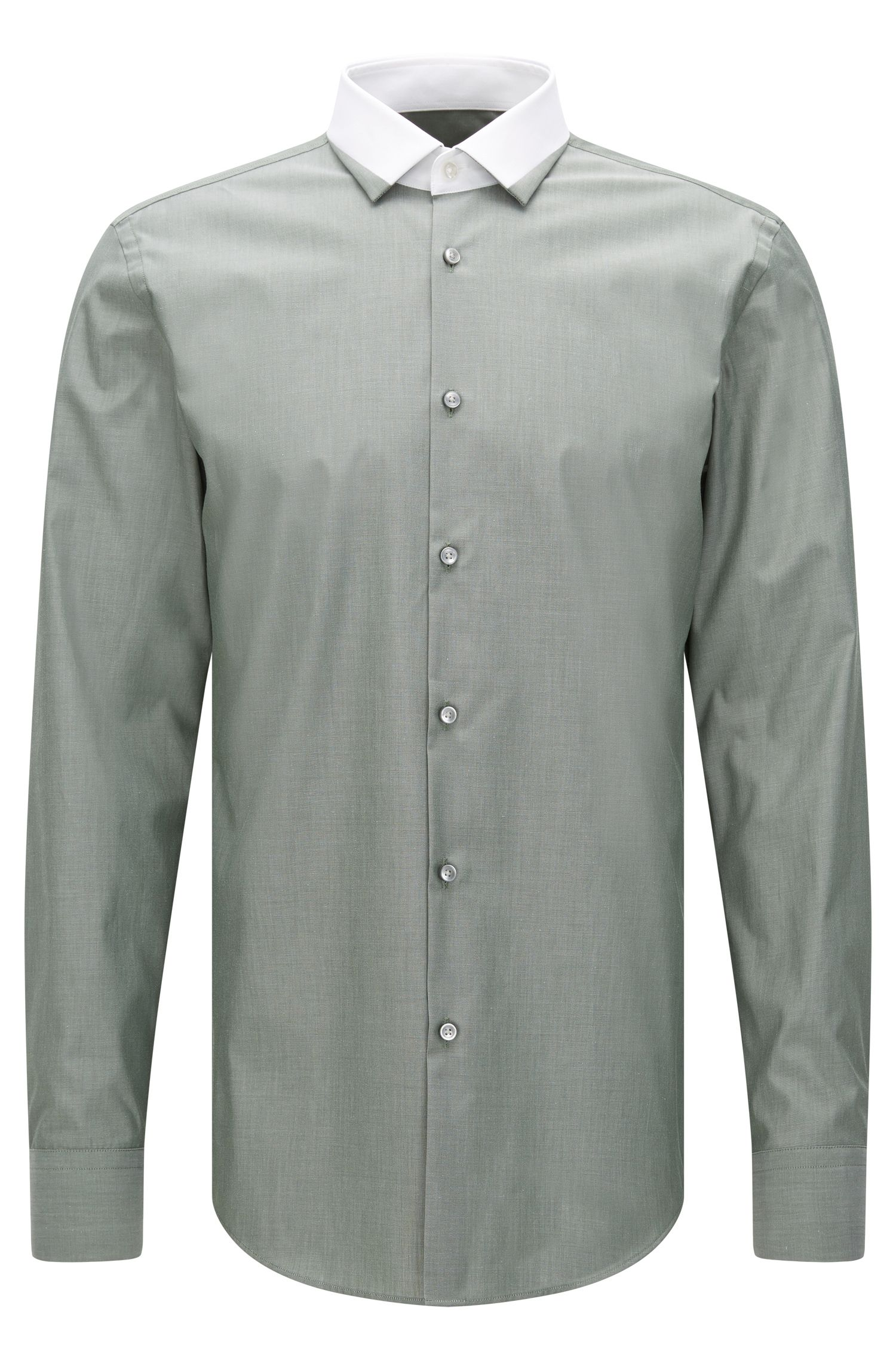 Slim-fit shirt in cotton with colour-contrasting collar: 'Jerrell'