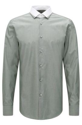 Camisa slim fit en algodón con cuello en color contrastado: 'Jerrell', Verde oscuro