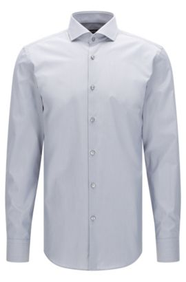 Plain slim-fit cotton shirt: 'Jason', Silver