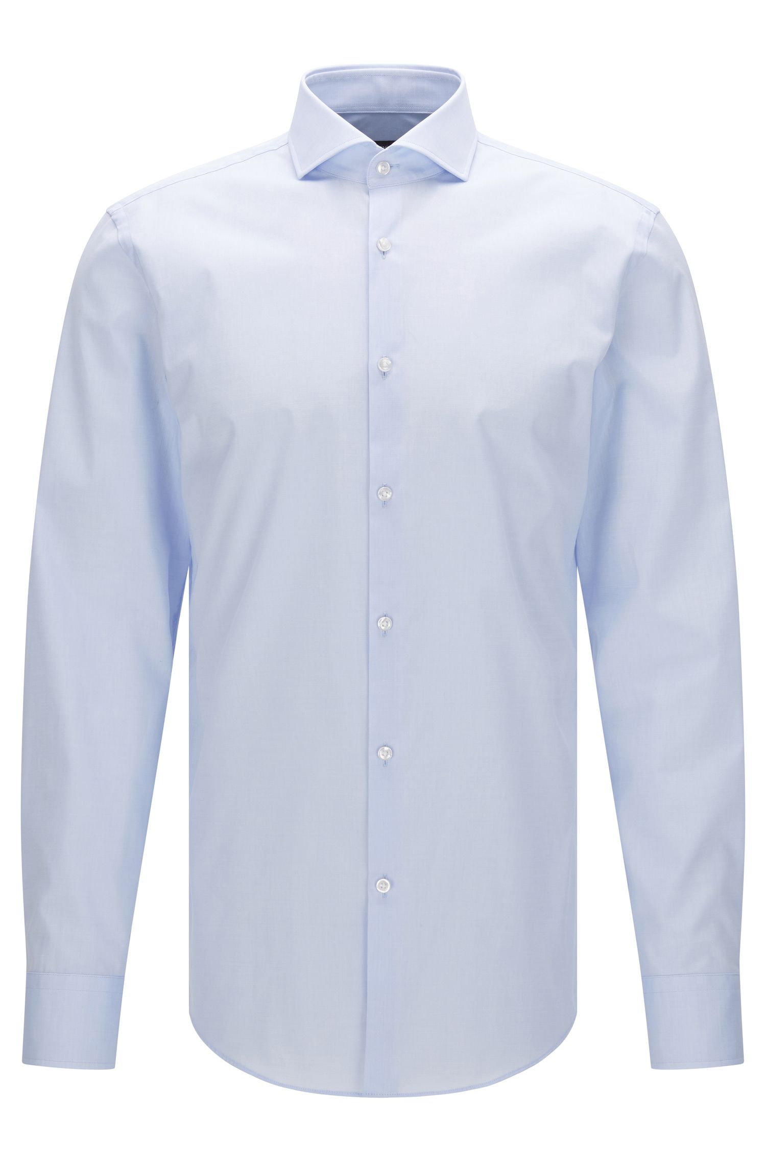 Plain slim-fit cotton shirt: 'Jason'