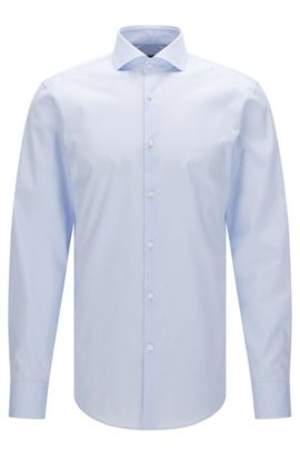Effen slim-fit overhemd van katoen: 'Jason', Lichtblauw