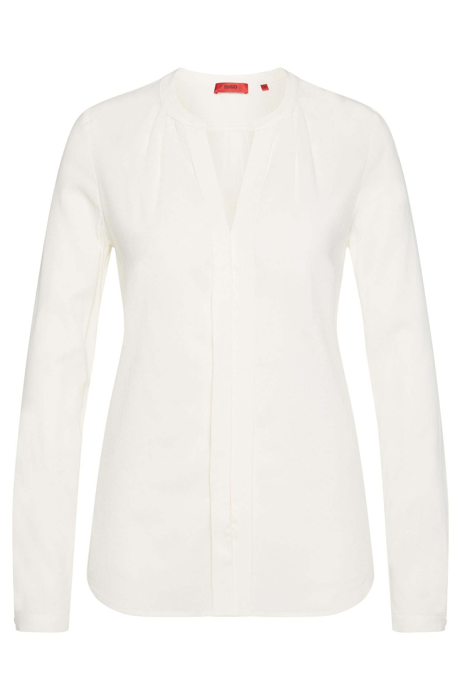 Regular-fit blouse in stretch viscose with pleated details: 'Enet'