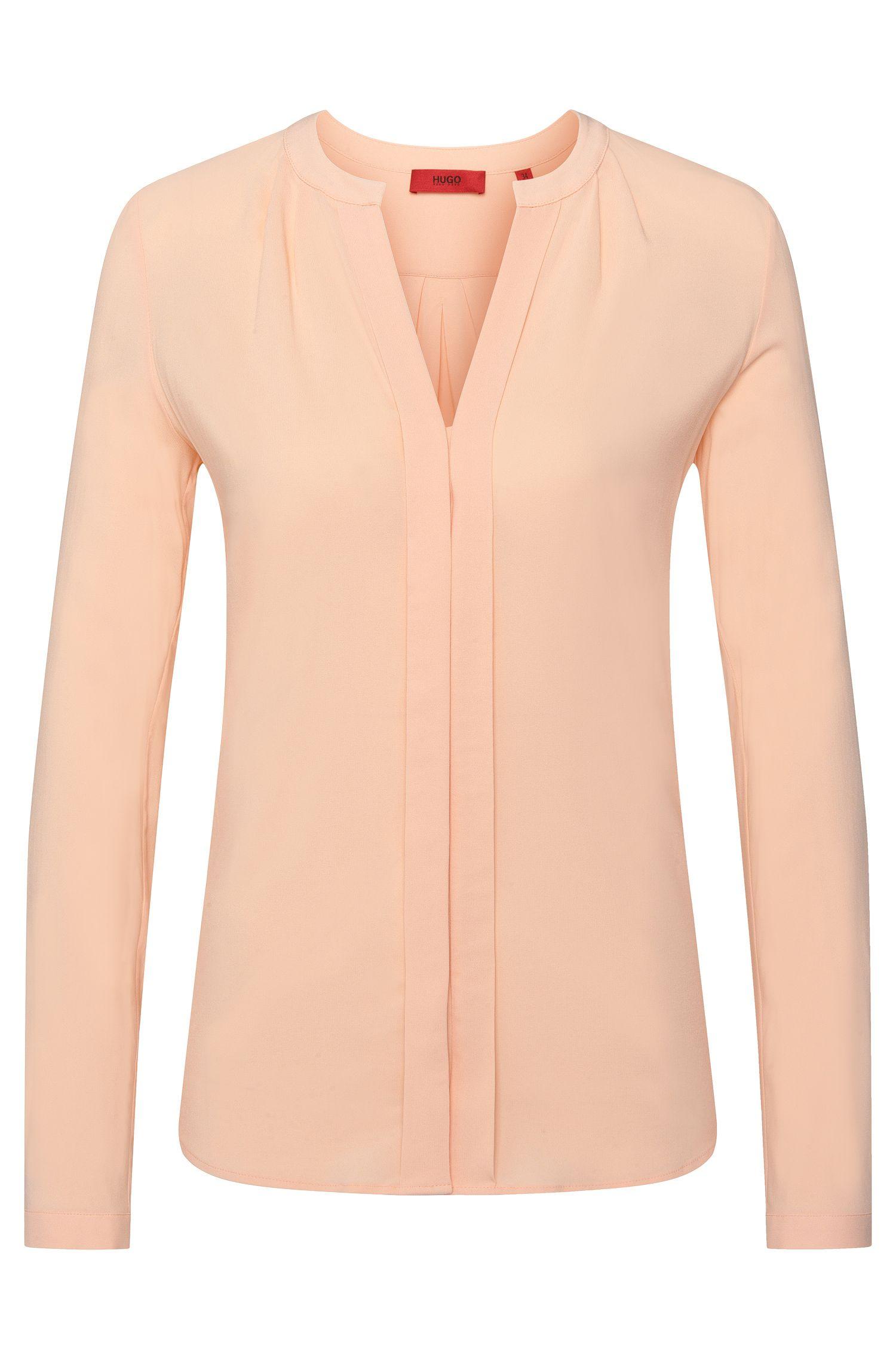 Regular-Fit Bluse aus elastischer Viskose mit Falten-Details: 'Enet'