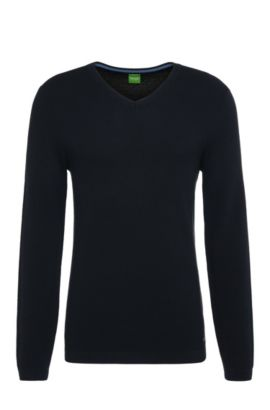 Maglione slim fit in maglia di cotone: 'Vayn', Blu scuro