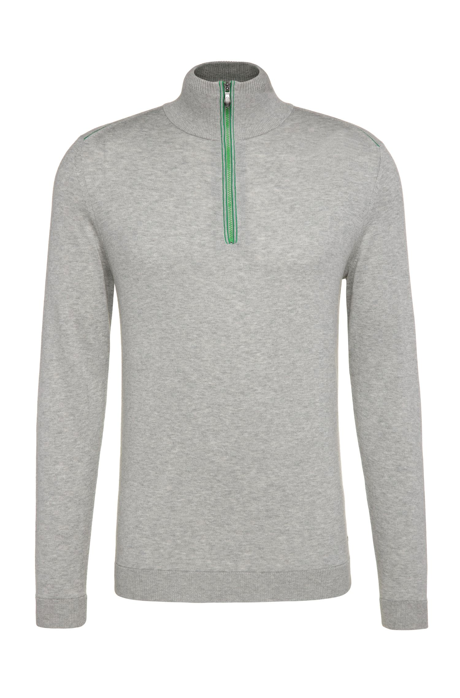 Regular-fit sweater in knitted cotton with wool: 'Zigg'