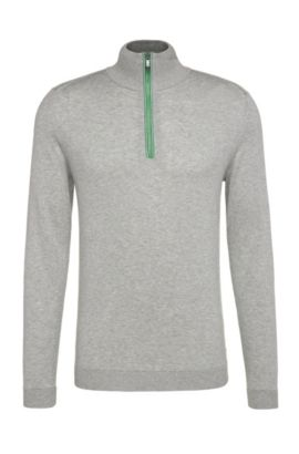 Regular-fit sweater in knitted cotton with wool: 'Zigg', Light Grey