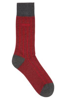 Chaussettes à motif fin en coton mélangé mercerisé: «George Design», Rouge