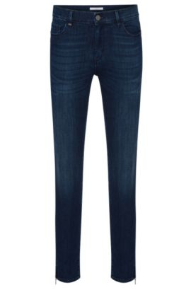 Slim-fit jeans in a stretchy cotton blend with zip details: 'Nafice Zip', Dark Blue