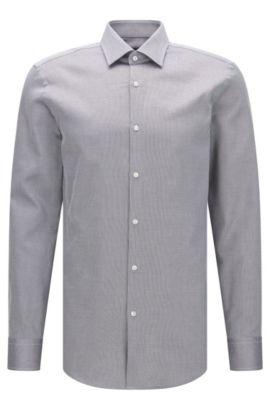Finely patterned slim-fit cotton shirt: 'Jenno', Dark Grey