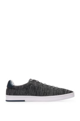 Trainers in knitted-effect textile with leather trim: 'Rayadv_Tenn_sykn', Dark Grey