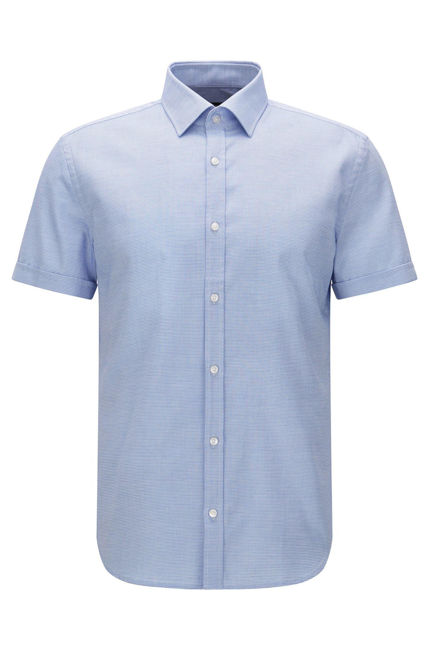 Patterned slim-fit short-sleeved shirt in cotton: 'Jats'