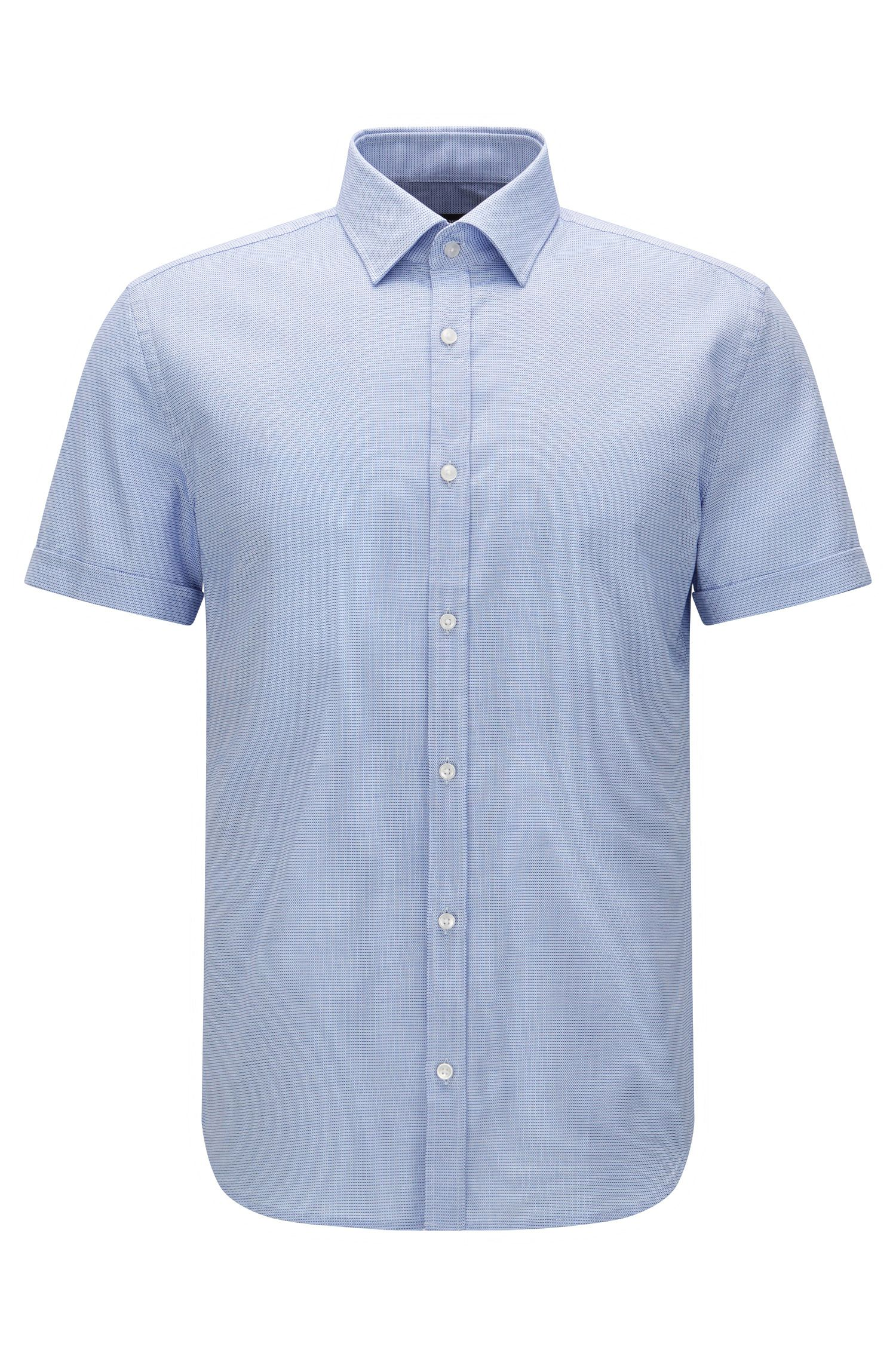 Patterned slim-fit short-sleeved shirt in cotton: 'Jats'