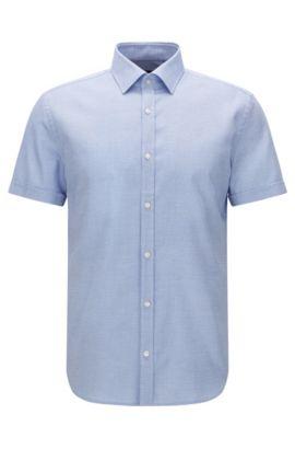 Patterned slim-fit short-sleeved shirt in cotton: 'Jats', Blue