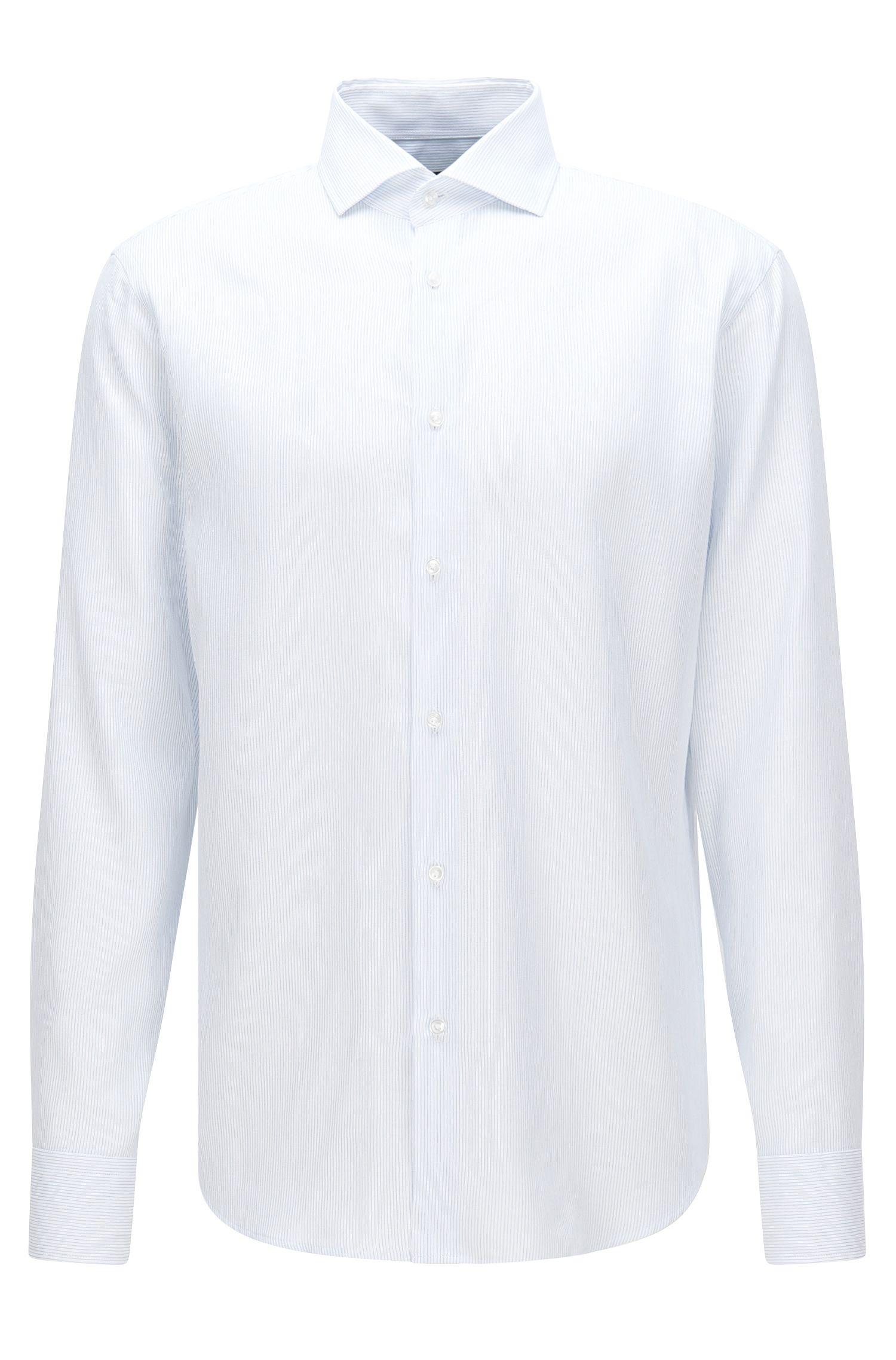 Camisa a rayas finas regular fit en mezcla de algodón con lino: 'Gordon'