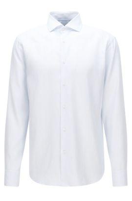 Camisa a rayas finas regular fit en mezcla de algodón con lino: 'Gordon', Celeste