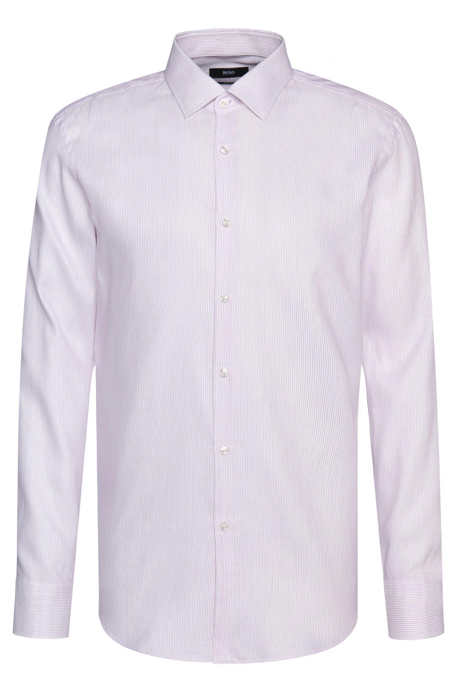 Camisa slim fit a rayas en mezcla de algodón con lino: 'Jenno'