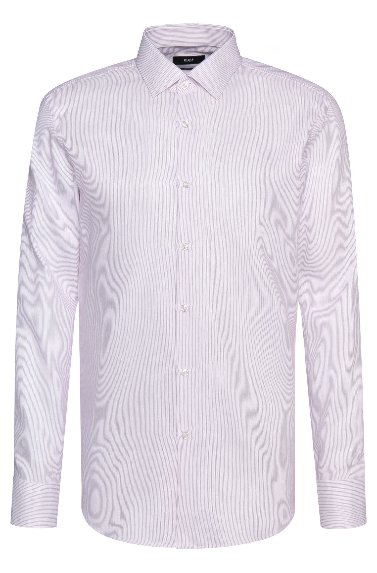 Striped slim-fit shirt in cotton blend with linen: 'Jenno'