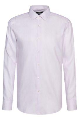 Gestreept slim-fit overhemd van een katoenmix met linnen: 'Jenno', Lila
