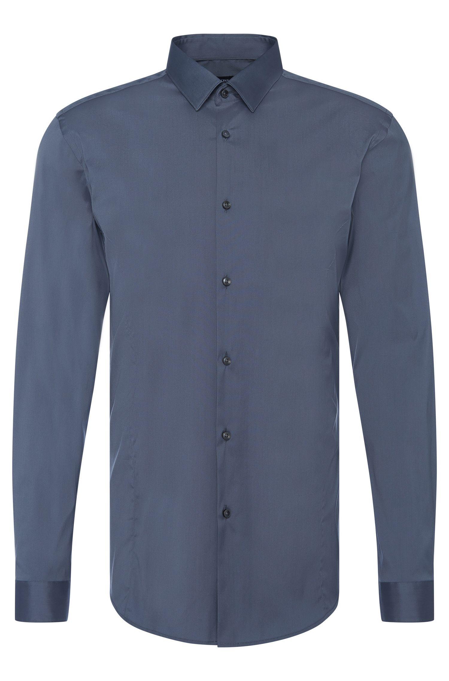Camisa slim fit en mezcla de algodón elástico: 'Ilan'