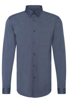 Camisa slim fit en mezcla de algodón elástico: 'Ilan', Gris oscuro