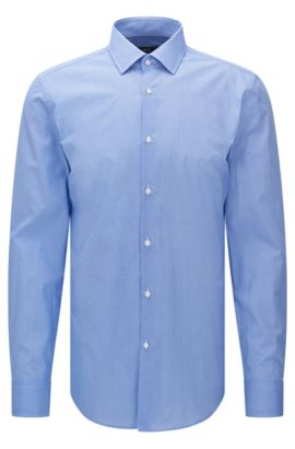 Patterned slim-fit shirt in cotton: 'Jenno', Blue