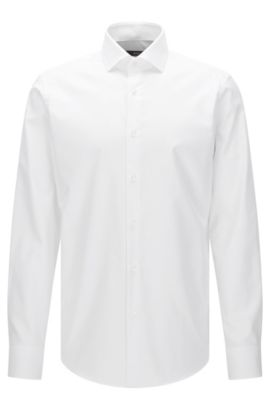 Camisa regular fit Travel Line en algodón fácil de planchar: 'Gordon', Blanco