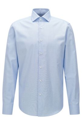 Camicia Travel Line regular fit in cotone facile da stirare: 'Gordon', Blu