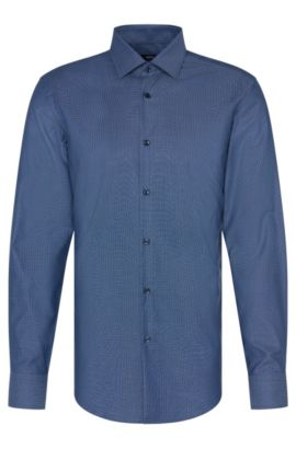 Chemise en coton Slim Fit Travel Line: «Jenno», Bleu vif