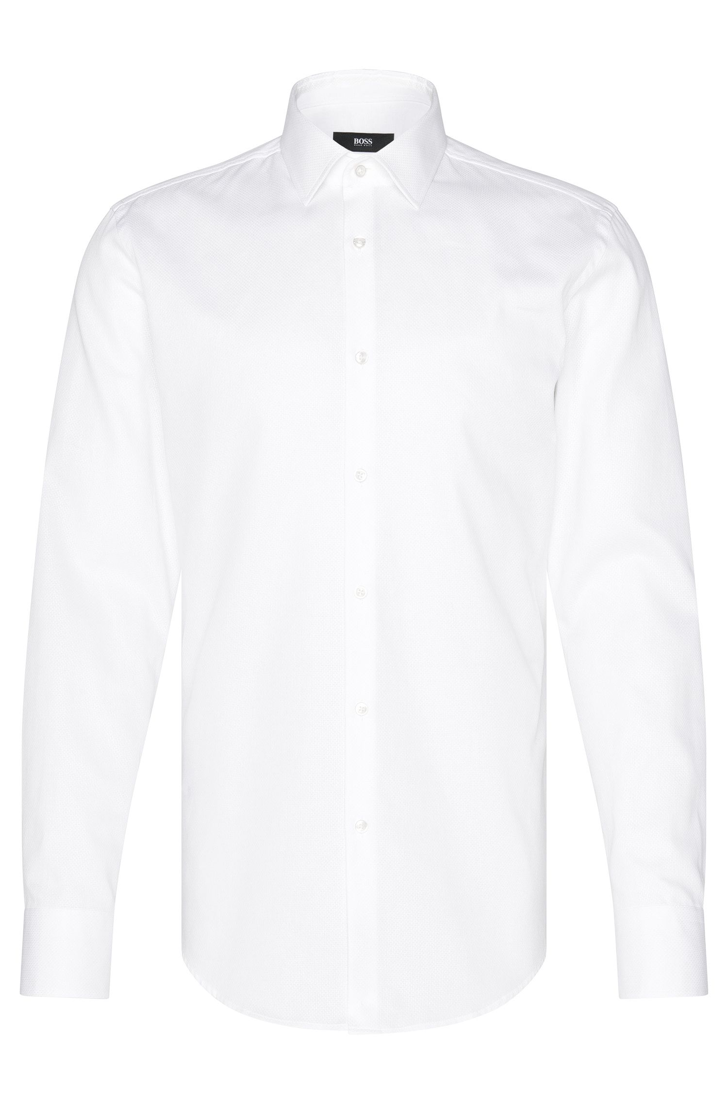 Finely textured slim-fit shirt in cotton: 'Jenno'