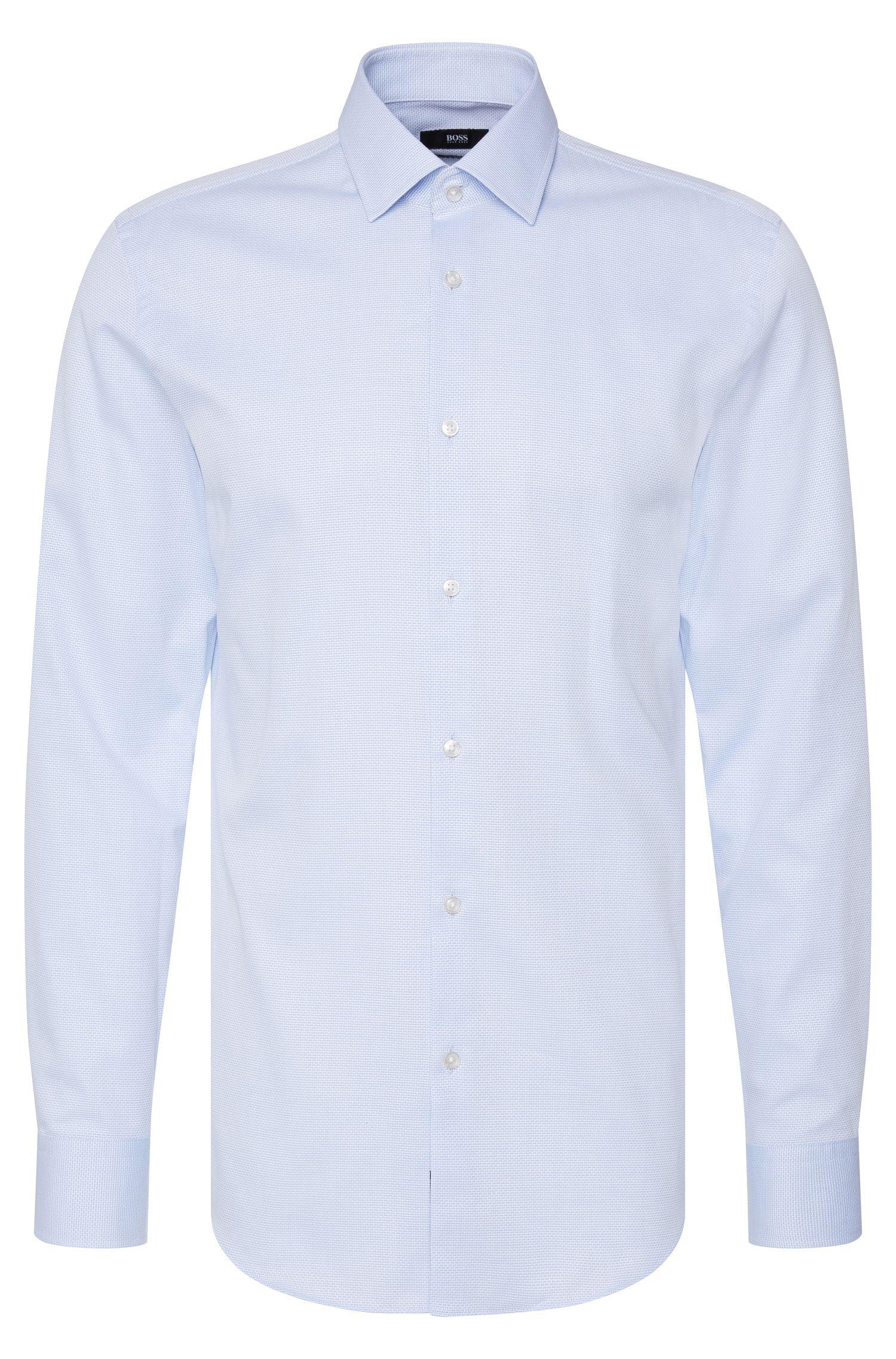 Fijngestructureerd slim-fit overhemd van katoen: 'Jenno'