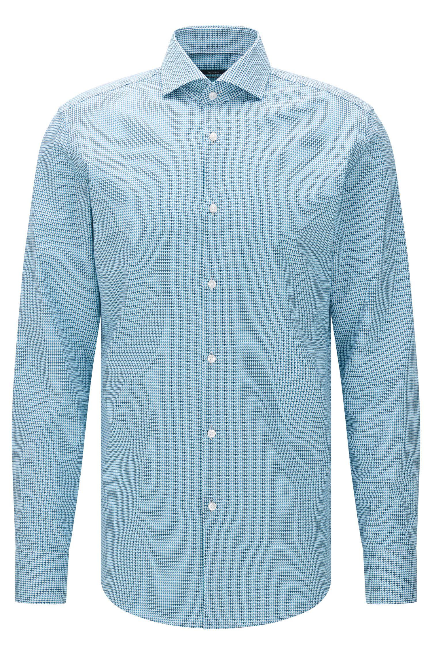 Slim-fit overhemd van katoen met dessin: 'Jason'