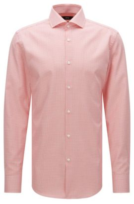 Chemise Slim Fit à motif en coton : « Jason », Rouge