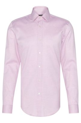 Patterned slim-fit shirt in cotton: 'Isaak', Open Pink