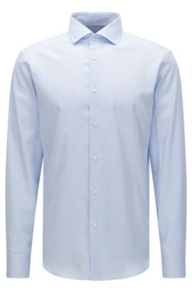 Camisa regular fit con estampado elegante en algodón: 'Gordon', Celeste