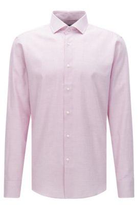 Regular-fit overhemd van katoen met fijn dessin: 'Gordon', Lichtroze