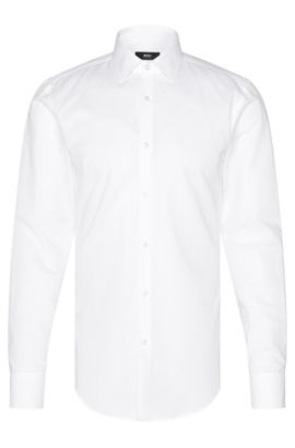 Slim-fit shirt in a cotton blend with linen: 'Jenno', White