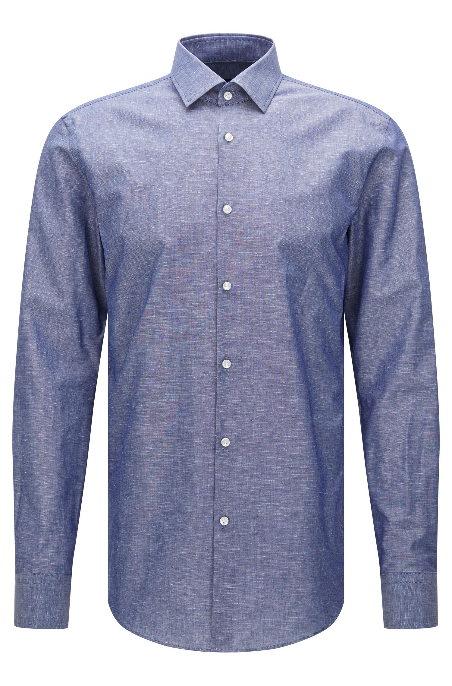 Slim-fit shirt in a cotton blend with linen: 'Jenno'