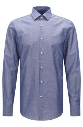 Slim-fit shirt in a cotton blend with linen: 'Jenno', Dark Blue