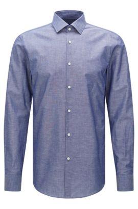 Camicia slim fit in misto cotone con lino: 'Jenno', Blu scuro