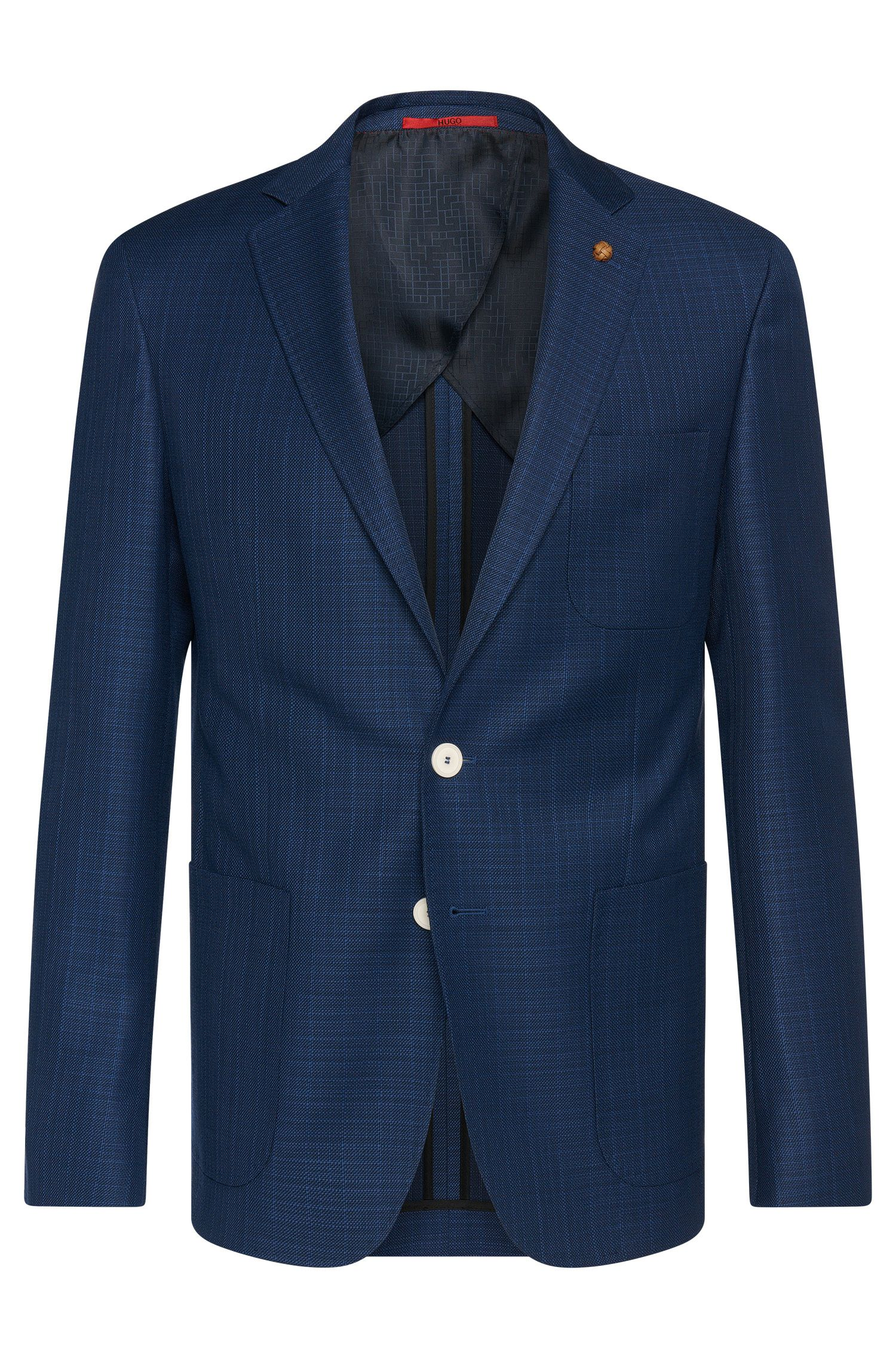Textured extra slim-fit jacket in new wool with contrasting colour buttons: 'C-Raye'