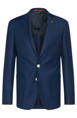 Giacca extra slim fit lavorata in lana vergine con bottoni di colore contrastante: 'C-Raye', Blu