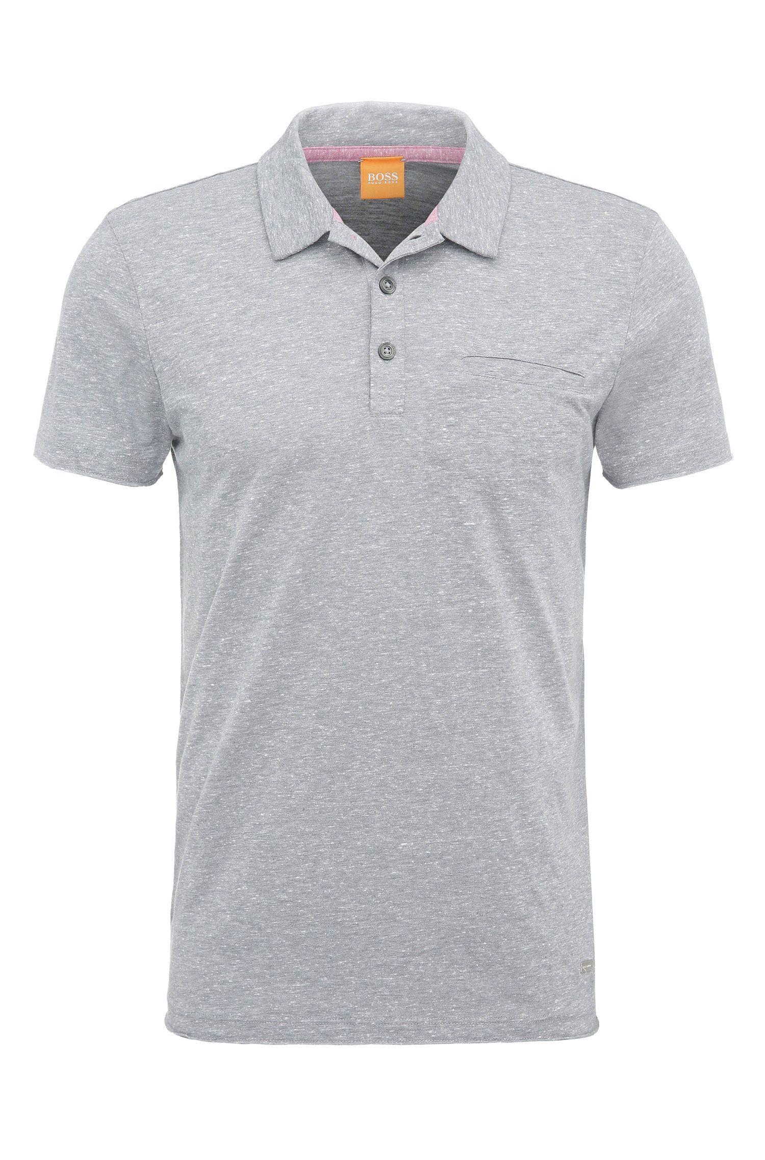 Polo jaspeado slim fit en mezcla de materiales con algodón y modal: 'Paxtyn'