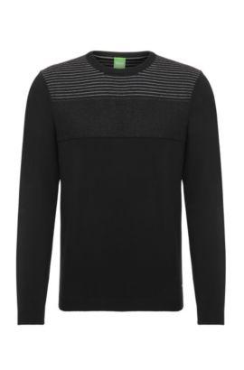 Jersey de punto en mezcla de algodón elástico: 'Rung', Negro