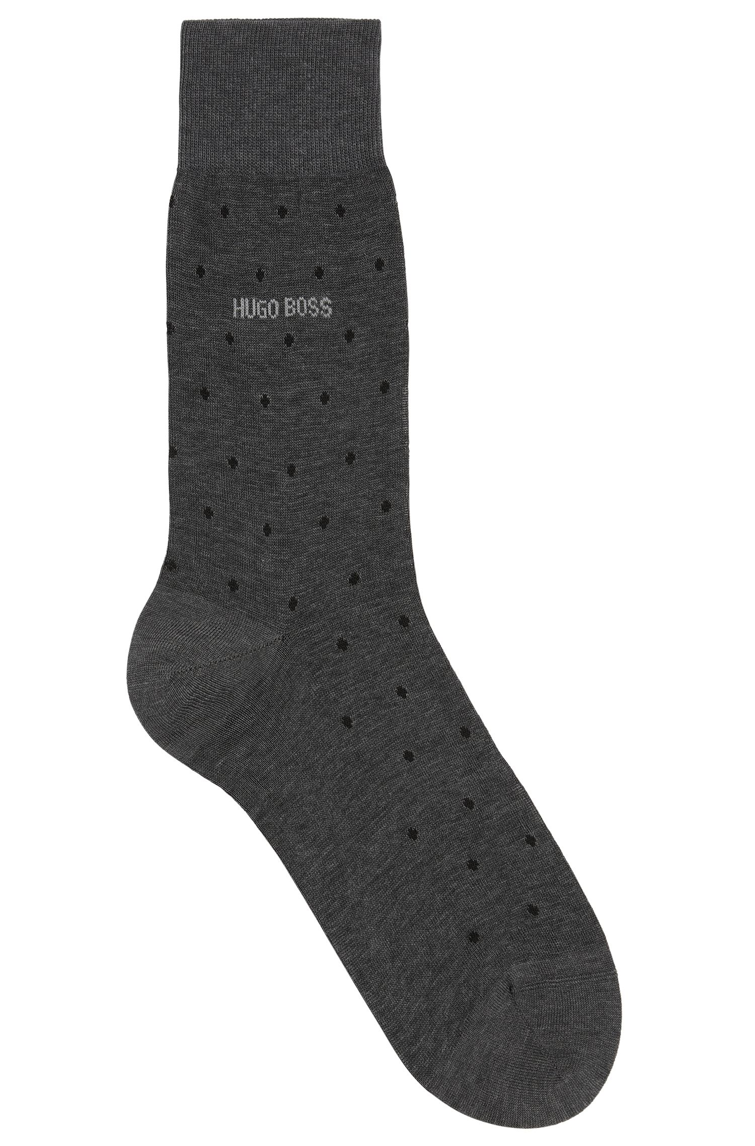 Polka-dot patterned socks in mercerised cotton
